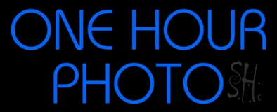 Blue One Hour Photo Block LED Neon Sign