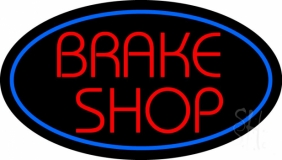 Brake Shop With Oval LED Neon Sign