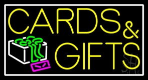 Cards And Gifts Block White Border LED Neon Sign