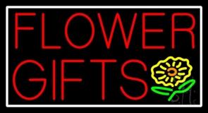 Flower Gifts White Border In Block LED Neon Sign