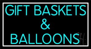 Gift Baskets Balloons With Border LED Neon Sign
