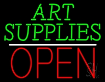 Green Art Supplies With Open 1 LED Neon Sign