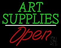 Green Art Supplies With Open 2 LED Neon Sign