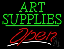 Green Art Supplies With Open 3 LED Neon Sign