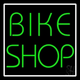 Green Bike Shop White Border LED Neon Sign