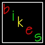 Multicolored Bikes White Border LED Neon Sign