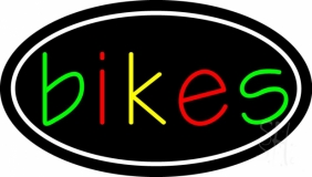 Multicolored Bikes With Border LED Neon Sign