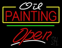 Oil Painting Green Line Open LED Neon Sign