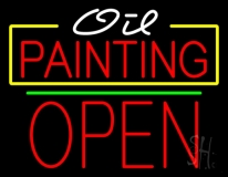 Oil Painting Open Green Line LED Neon Sign