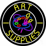 Art Supplies With White Circle LED Neon Sign