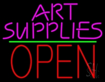 Pink Art Supplies Block With Open 1 LED Neon Sign