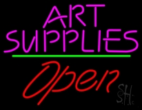 Pink Art Supplies Block With Open 2 LED Neon Sign