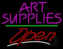 Pink Art Supplies Block With Open 3 LED Neon Sign