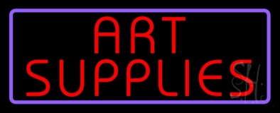 Red Art Supplies With Border LED Neon Sign