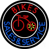 Red Bikes Blue Sales And Service LED Neon Sign