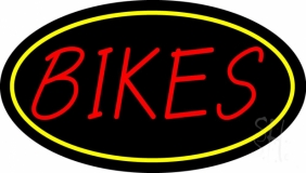 Red Bikes Yellow Border LED Neon Sign