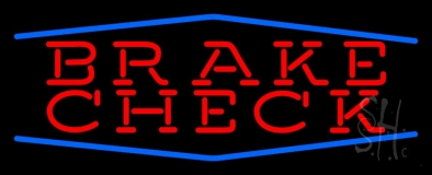 Red Brakes Blue Border LED Neon Sign