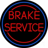 Red Brake Service Blue Circle LED Neon Sign