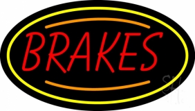 Red Brakes With Yellow Oval LED Neon Sign