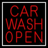 Red Car Wash Open LED Neon Sign