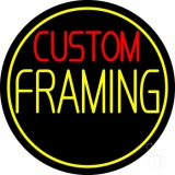 Red Custom Yellow Framing With Circle LED Neon Sign