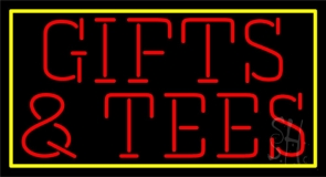 Red Gifts And Tees with Border LED Neon Sign