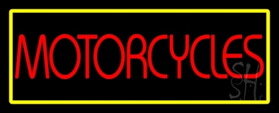 Red Motorcycles Yellow Border LED Neon Sign