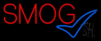 Red Smog Blue Check Logo 1 Neon Sign