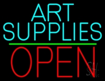 Turquoise Art Supplies With Open 1 LED Neon Sign