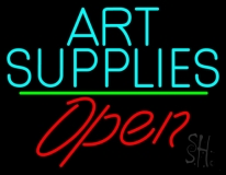 Turquoise Art Supplies With Open 2 LED Neon Sign