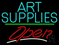 Turquoise Art Supplies With Open 3 LED Neon Sign