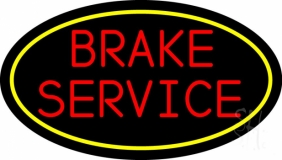 Yellow Border Brake Service LED Neon Sign