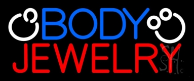 Blue And Red Body Jewelry Block Logo LED Neon Sign