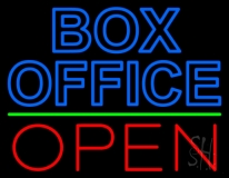 Blue Box Office Open LED Neon Sign