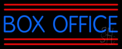 Blue Box Office Red Double Lines LED Neon Sign