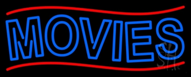 Blue Double Stroke Movies Block LED Neon Sign
