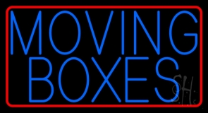Blue Moving Boxes Red Border LED Neon Sign