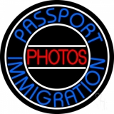 Blue Passport Immigration Photos 1 LED Neon Sign