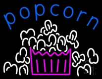 Blue Popcorn Logo LED Neon Sign
