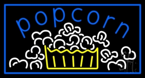 Blue Popcorn With Border LED Neon Sign