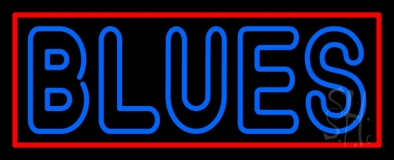 Double Stroke Blues with Border LED Neon Sign