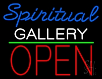 Blue Spritual White Gallery With Open 1 LED Neon Sign