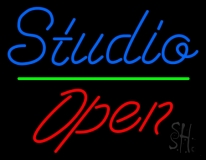 Blue Studio Red Open 2 LED Neon Sign
