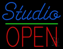 Blue Studio Red Open 3 LED Neon Sign