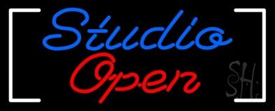 Blue Studio Red Open Border LED Neon Sign