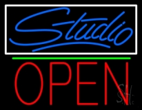 Blue Studio With Open 1 LED Neon Sign