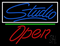 Blue Studio With Open 2 LED Neon Sign