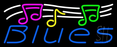 Blues With Musical Note 1 LED Neon Sign