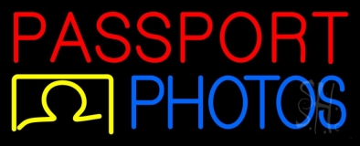 Red Passport Blue Photos LED Neon Sign