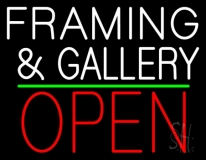White Framing And Gallery With Open 1 LED Neon Sign